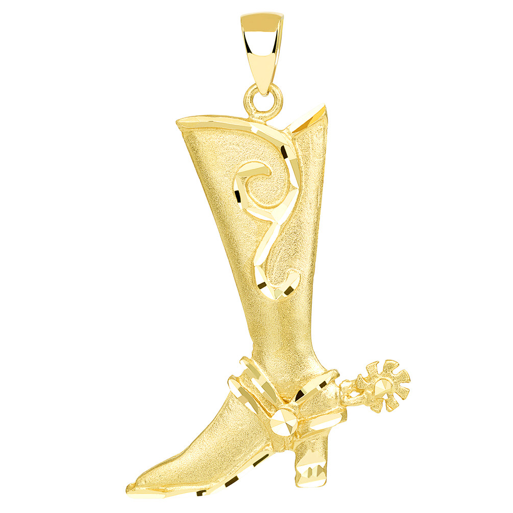 Textured 14k Yellow Gold Double Sided Cowboy Riding Boot with Spur Pendant