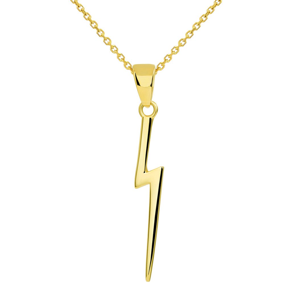 Solid 14k Yellow Gold Lightning Bolt Pendant Necklace