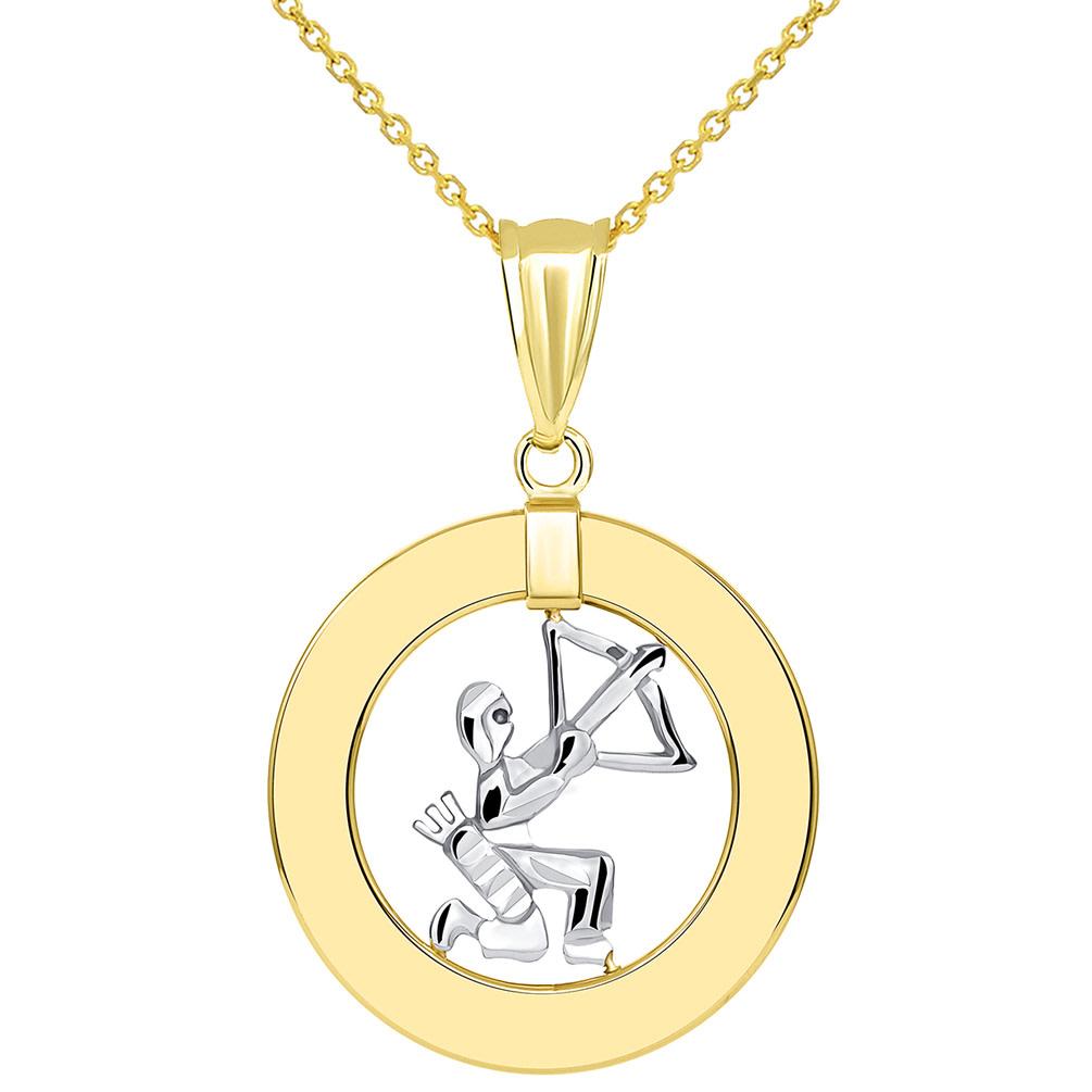 14k Two Tone Gold Open Circle Sagittarius Zodiac Sign Pendant Necklace