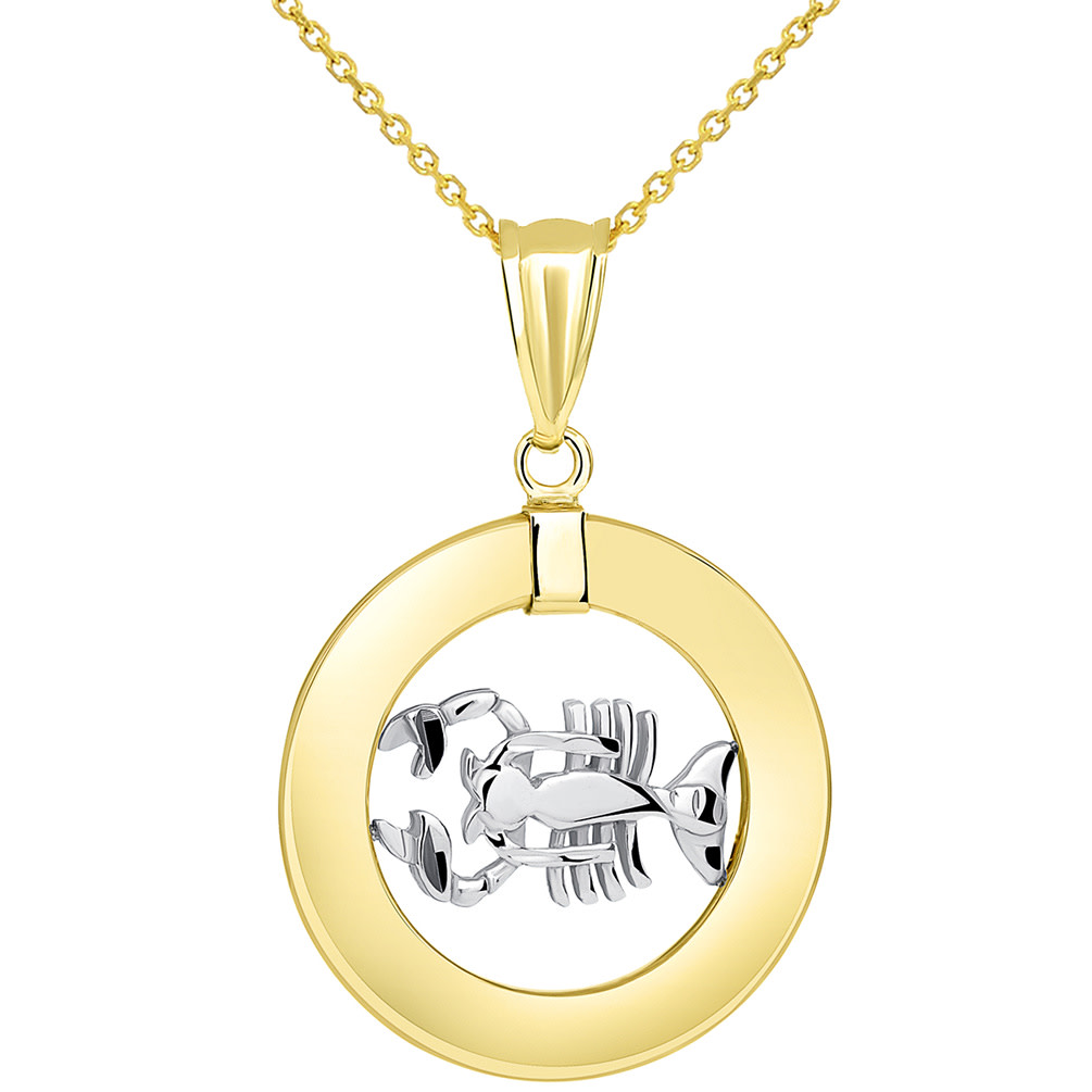 14k Two Tone Gold Open Circle Cancer Zodiac Sign Pendant Necklace