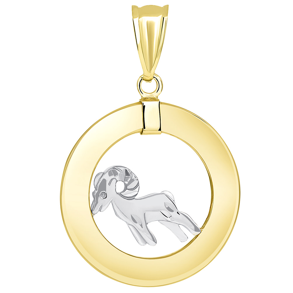 14k Two Tone Gold Open Circle Aries Zodiac Sign Pendant