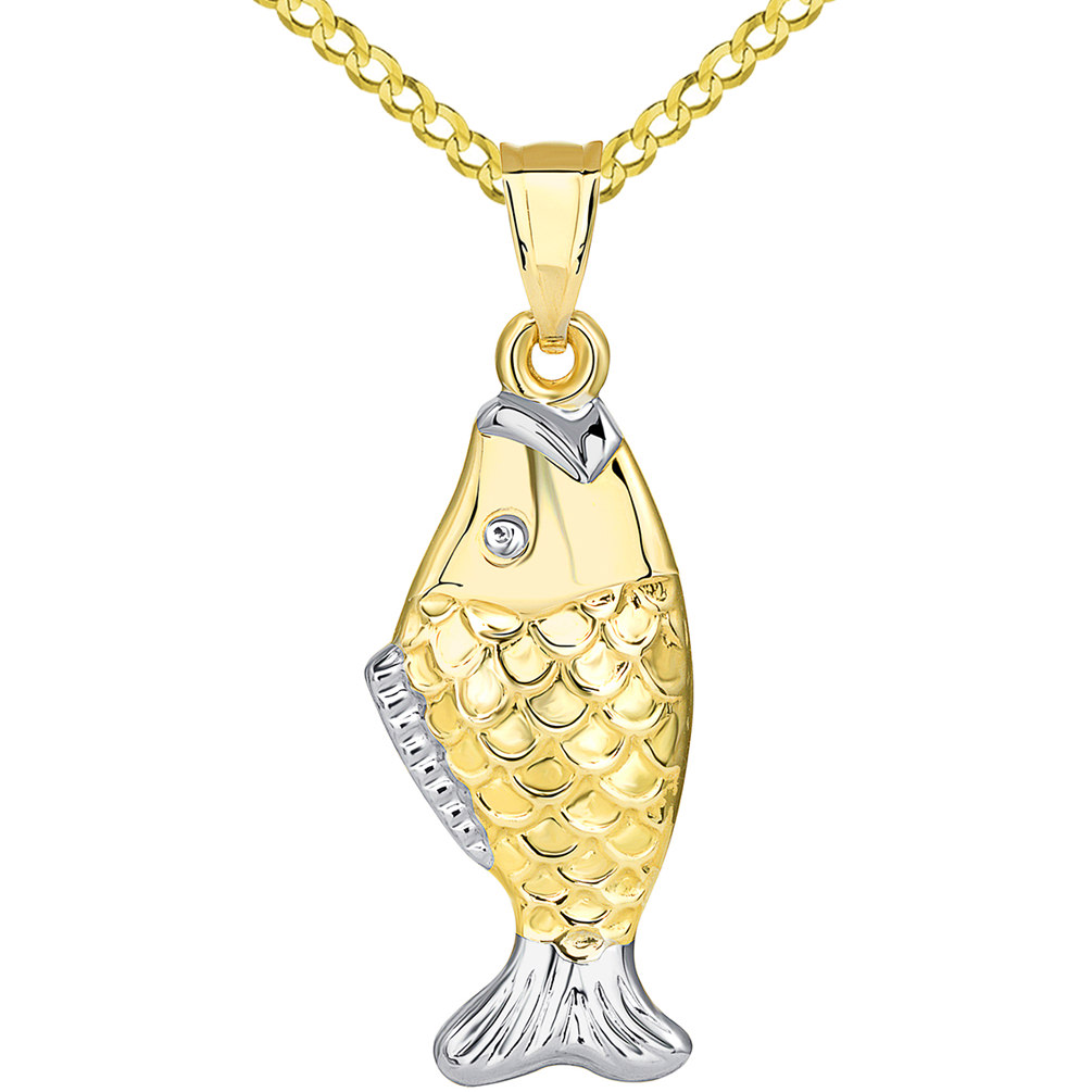 14k Yellow Gold Well Detailed Two Tone 3D Bass Vertical Fish Pendant Cuban Necklace