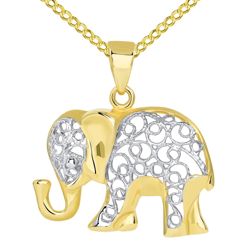 14k Yellow Gold Elegant Filigree Two Tone Elephant Pendant with Cuban Chain Necklace