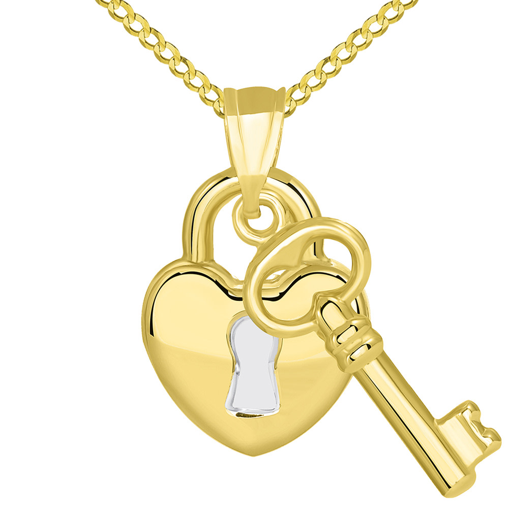 14k Yellow Gold Polished Two Tone Heart Shaped Lock and Love Key Pendant Cuban Necklace