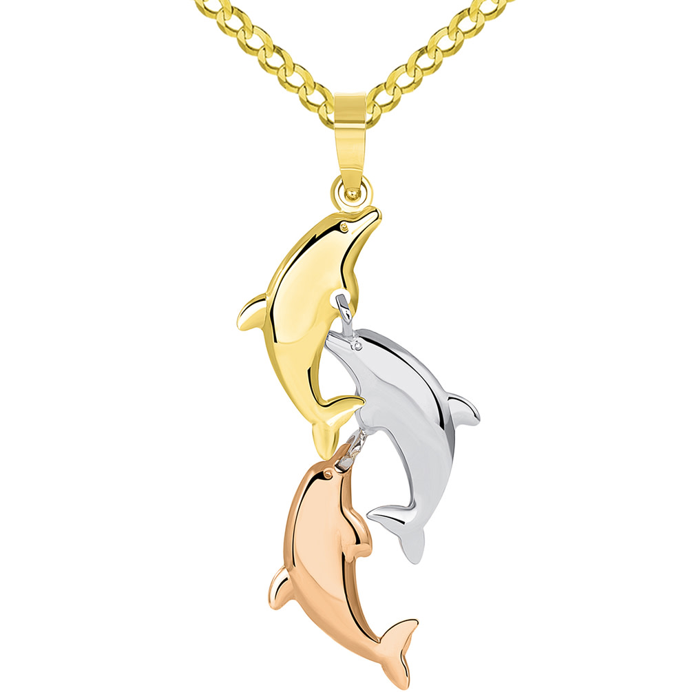 14k Tri Color Gold 3D Three Dangling Dolphins Jumping Vertical Pendant Curb Chain Necklace
