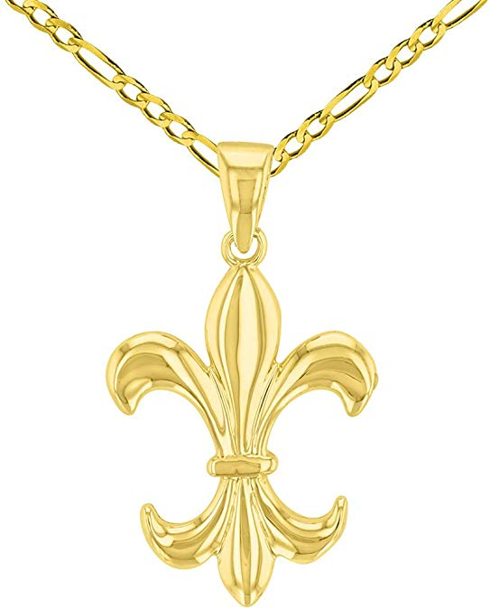 Solid 14K Yellow Gold Simple Fleur de Lis Charm Pendant with Figaro Necklace