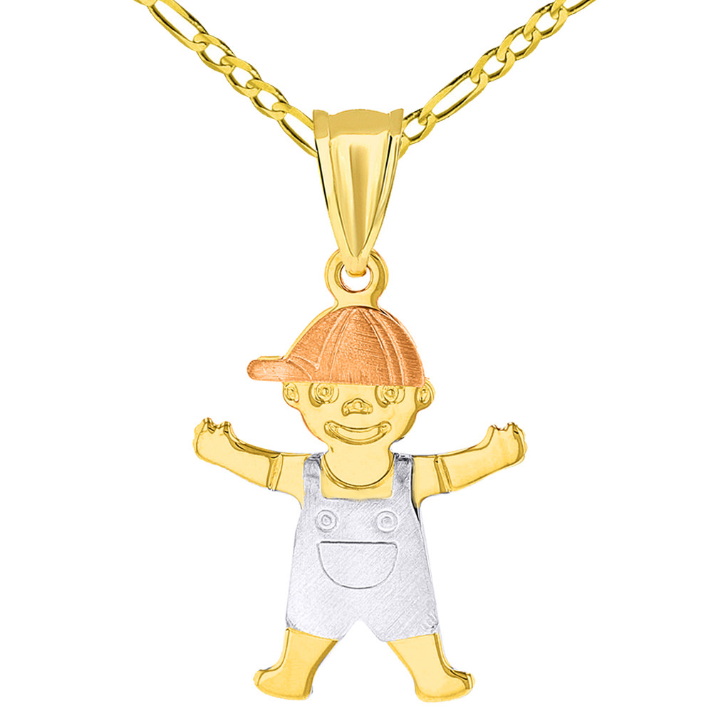 14k Tri Color Gold Little Boy Child Pendant with Figaro Necklace
