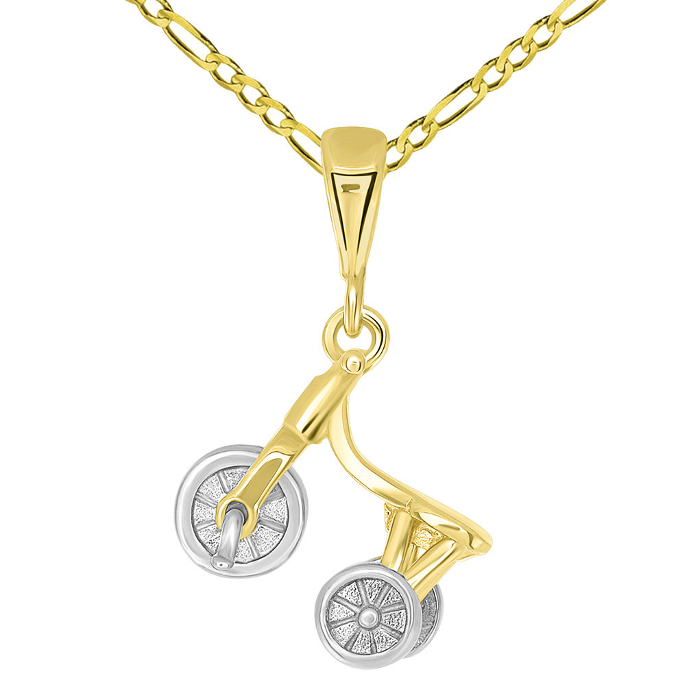 Solid 14K Two-Tone Gold 3-D Tricycle Bike Charm Pendant with Figaro Chain Necklace