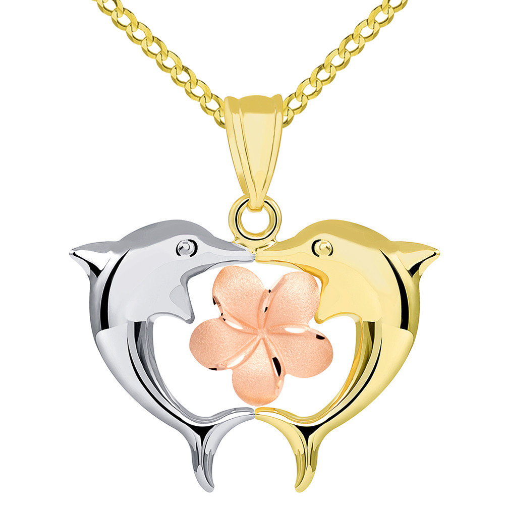 14k Tri Color Gold High Polish Kissing Dolphins with Hawaiian Plumeria Flower Pendant Cuban Necklace