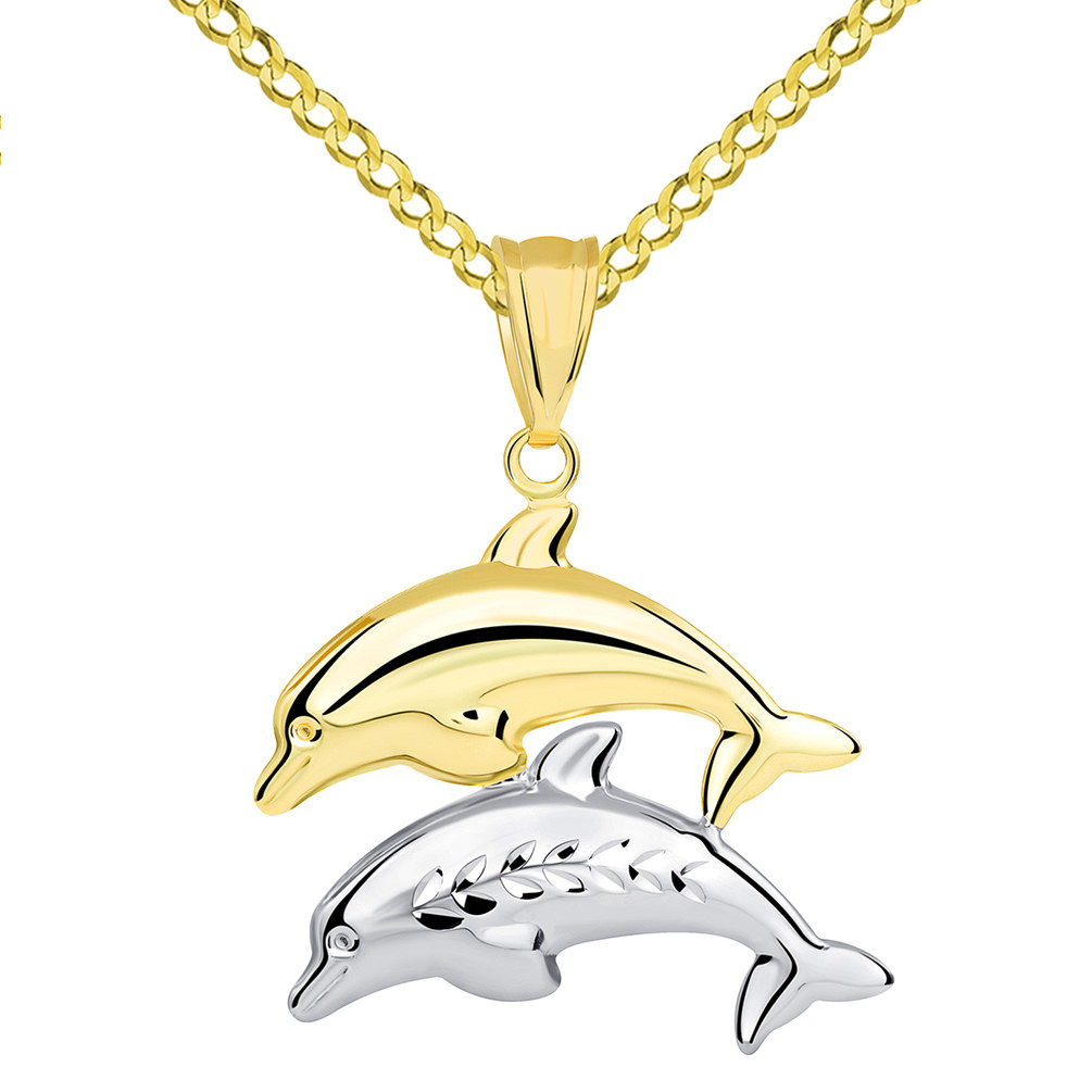 14k Yellow Gold and White Gold Two Tone 3D Dolphins Jumping Pendant Cuban Necklace