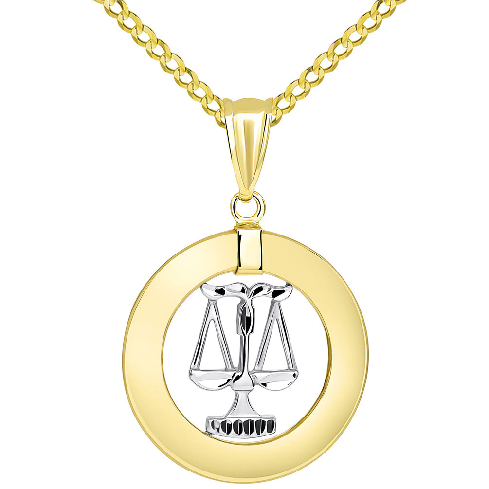14k Two Tone Gold Open Circle Libra Zodiac Sign Pendant Cuban Necklace