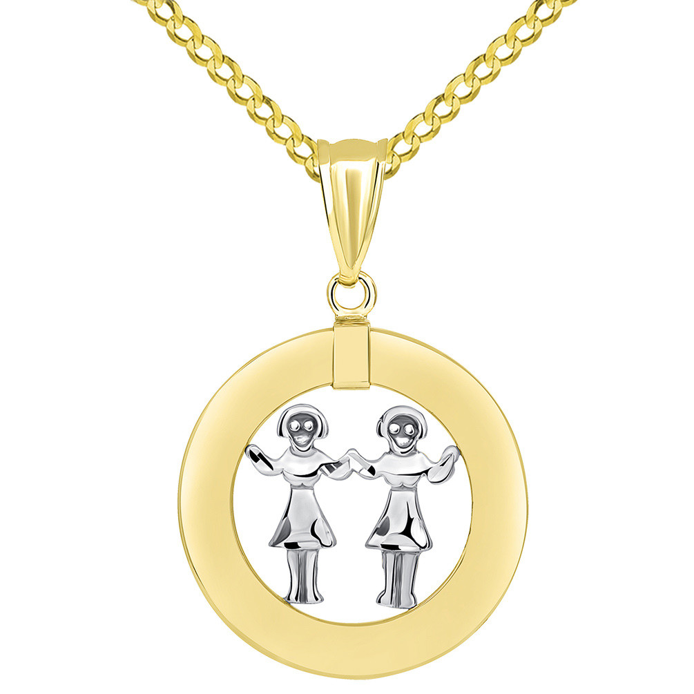 14k Two Tone Gold Open Circle Gemini Zodiac Sign Pendant Cuban Necklace