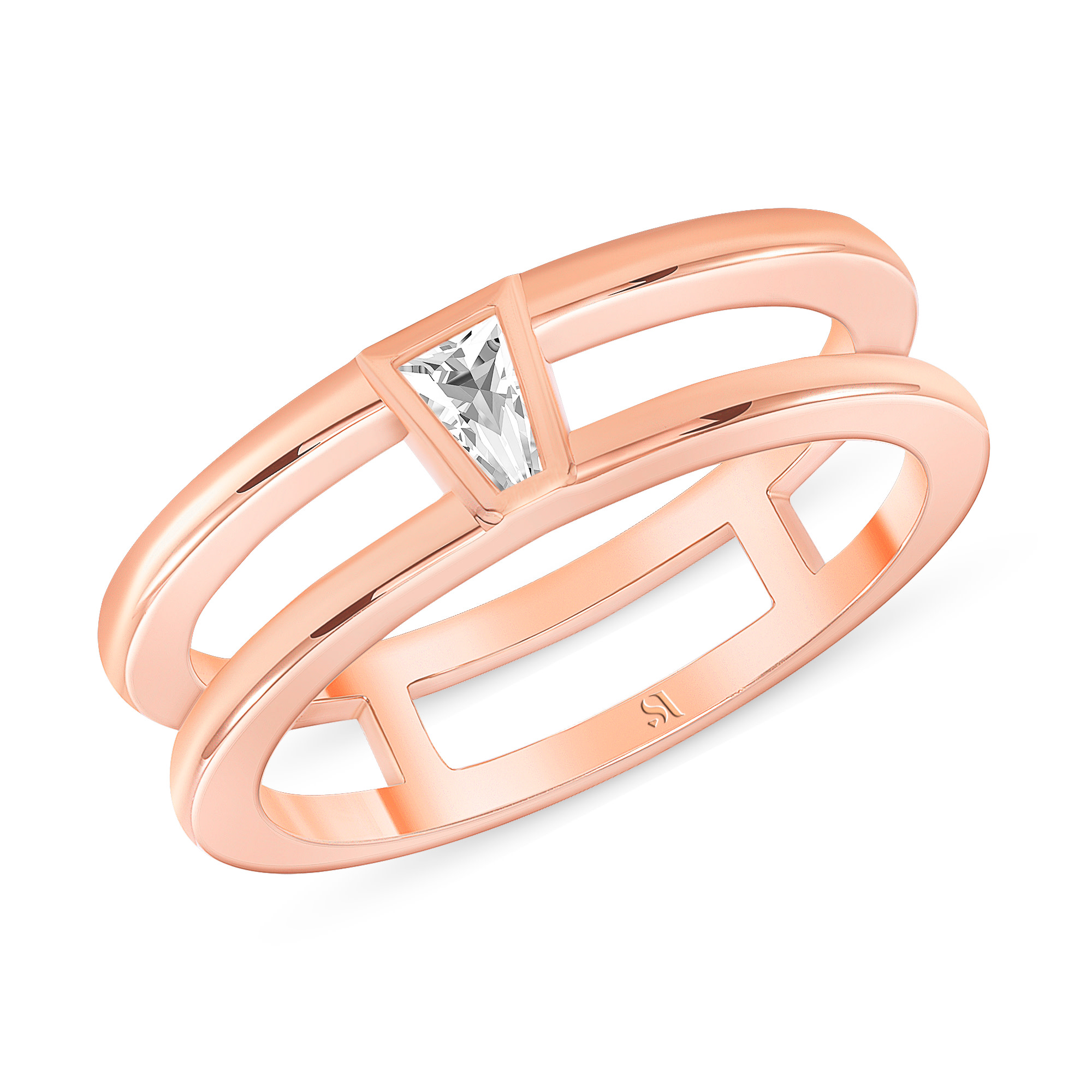 Tapered Baguette Diamond Double Band Rose Gold