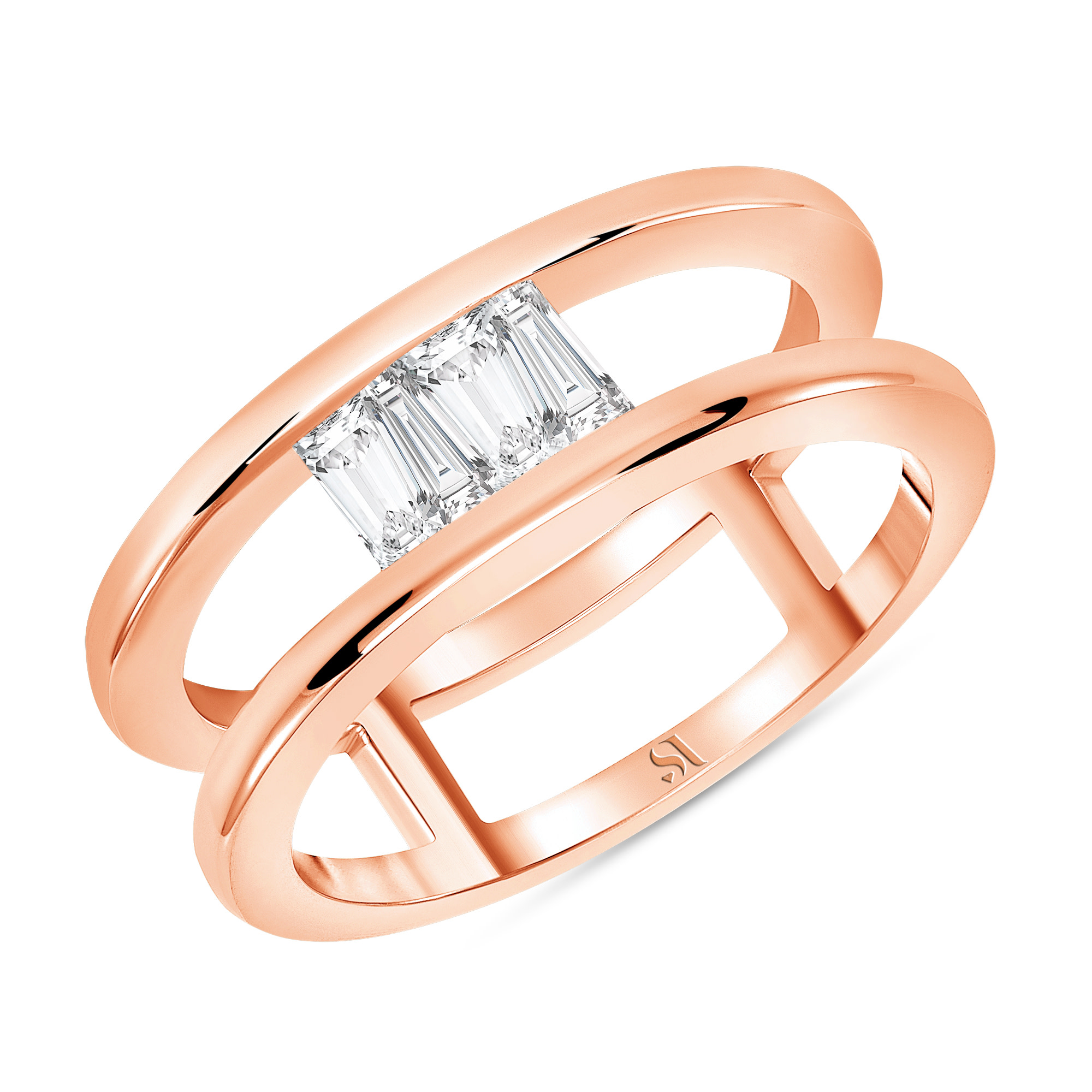 Upside Down Tapered Baguette Diamond Double Band -Rose Gold