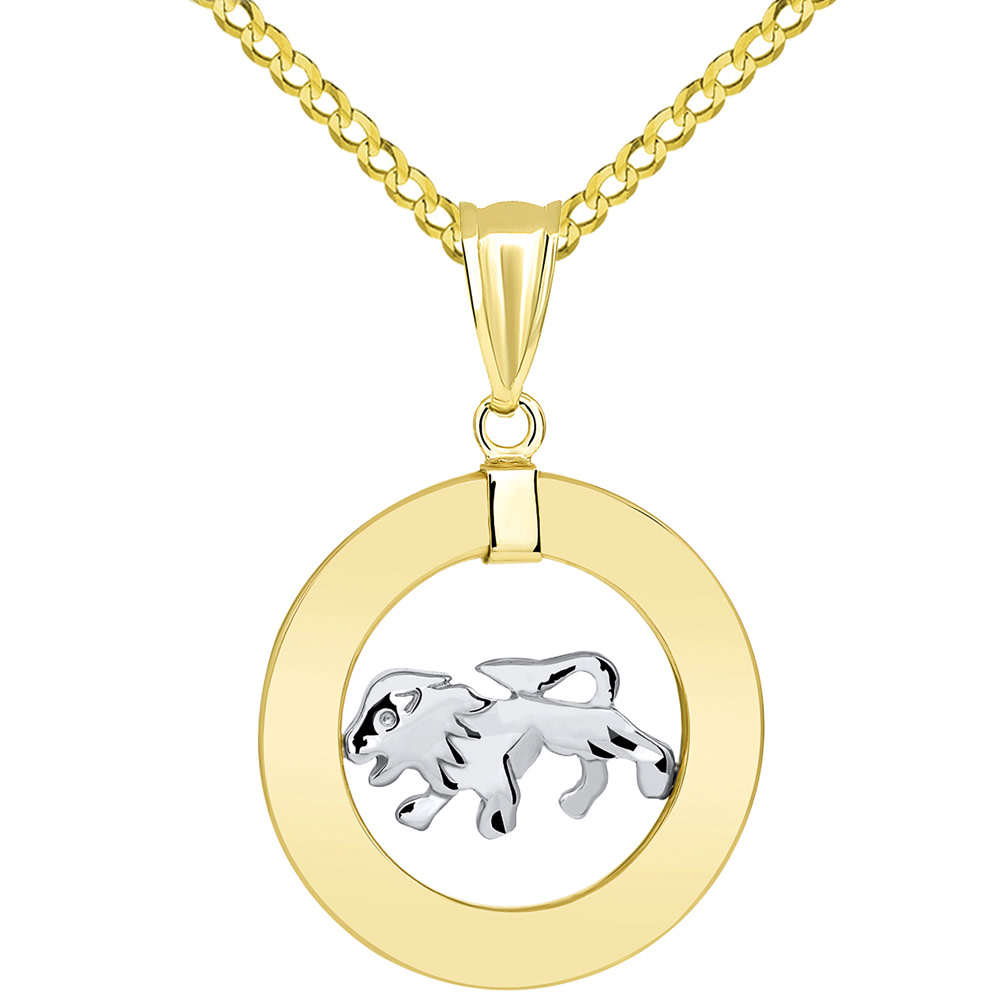 14k Two Tone Gold Open Circle Leo Zodiac Sign Pendant Cuban Necklace