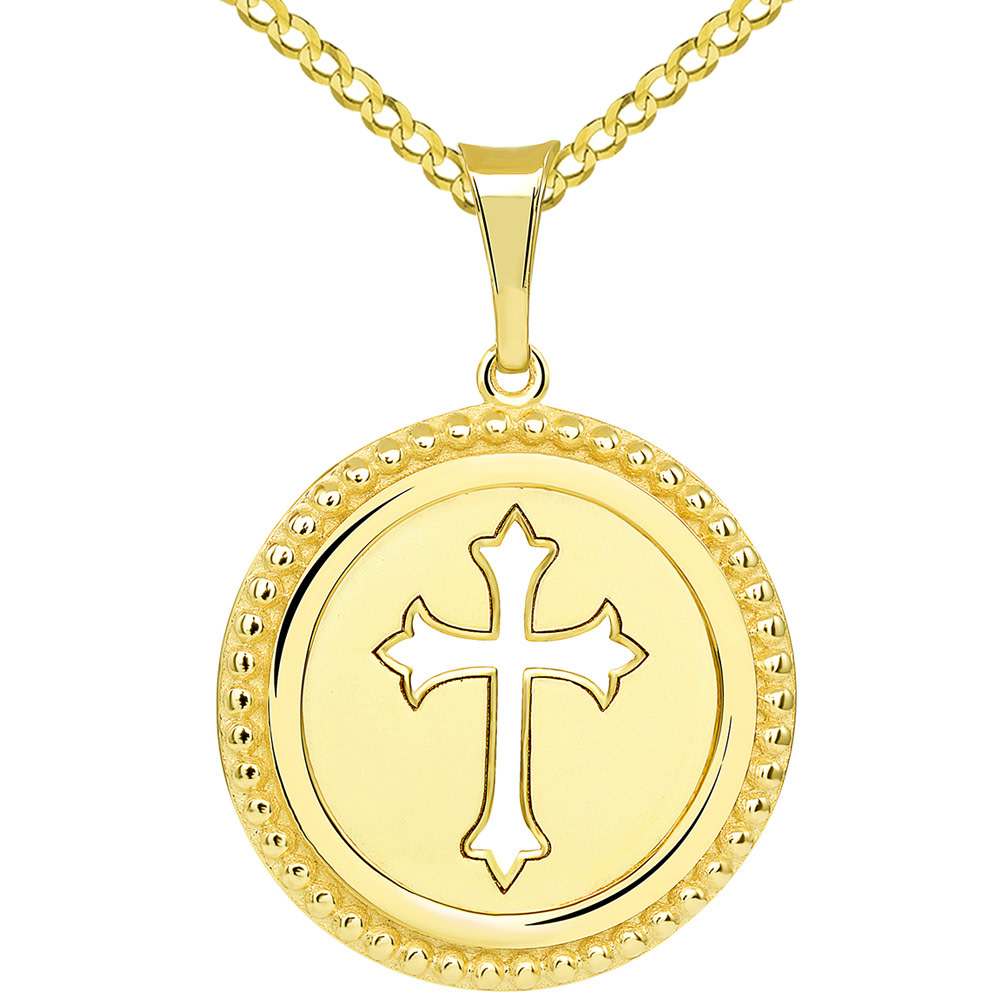 14k Yellow Gold Reversible Open Christian Cross Medallion Pendant with Cuban Concave Curb Necklace