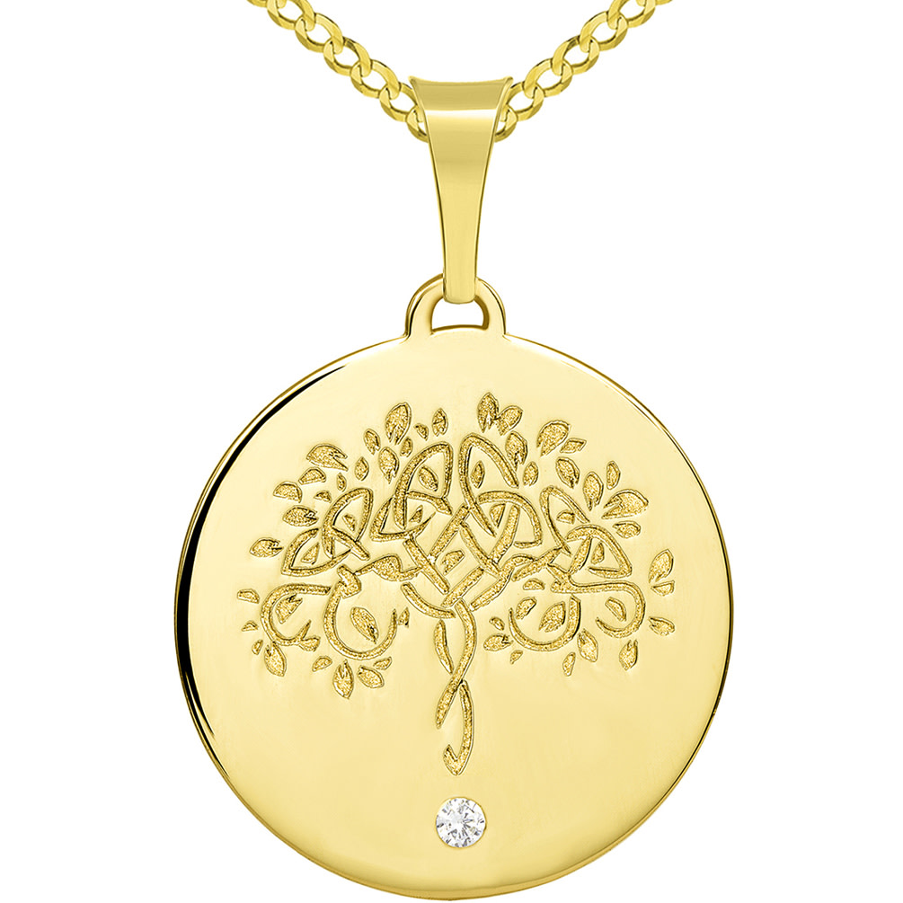 14k Solid Yellow Gold Hand Engraved Tree of Life CZ Round Medallion Pendant with Cuban Chain Necklace