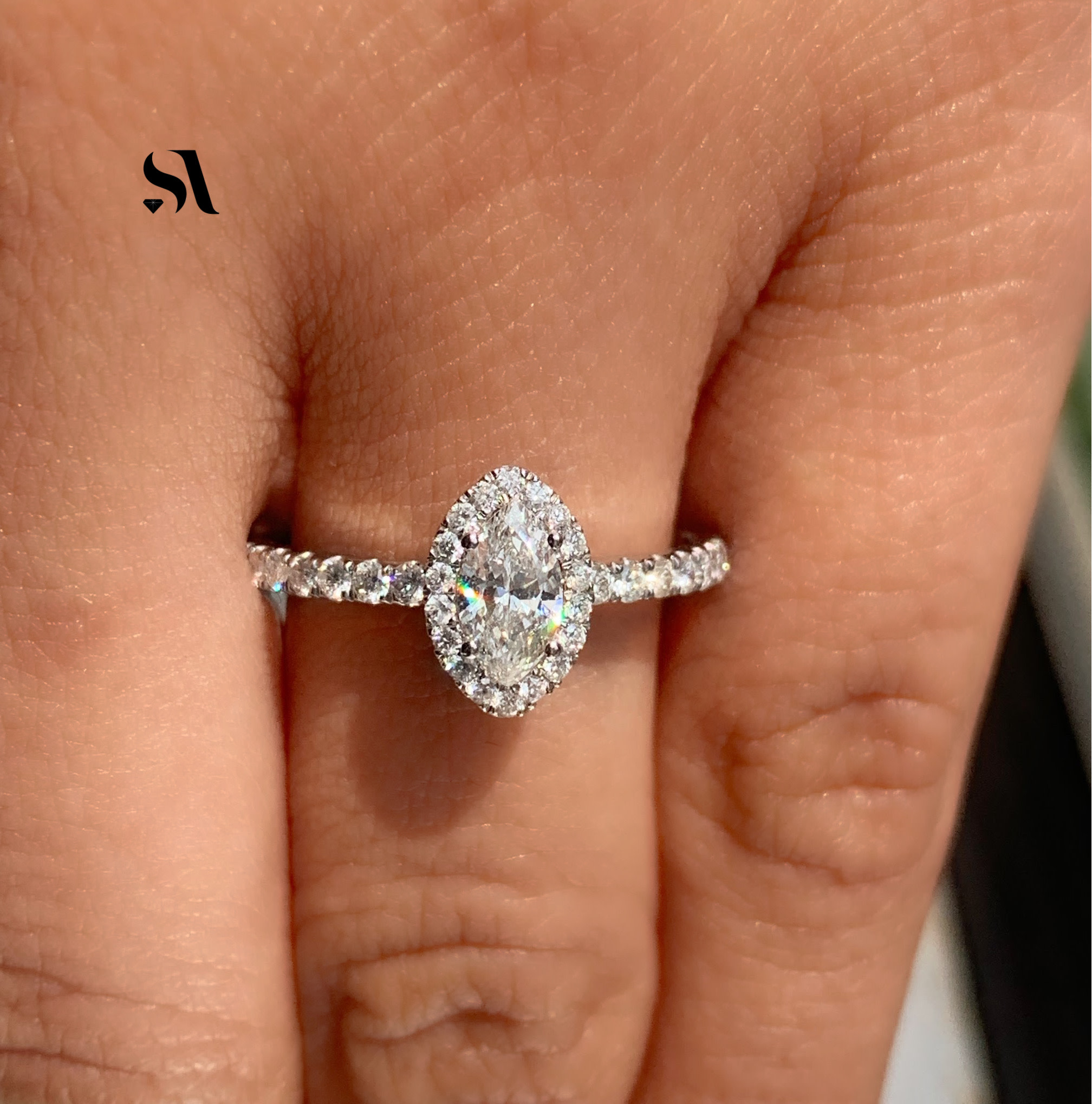 Marquise Diamond Halo Ring - Image