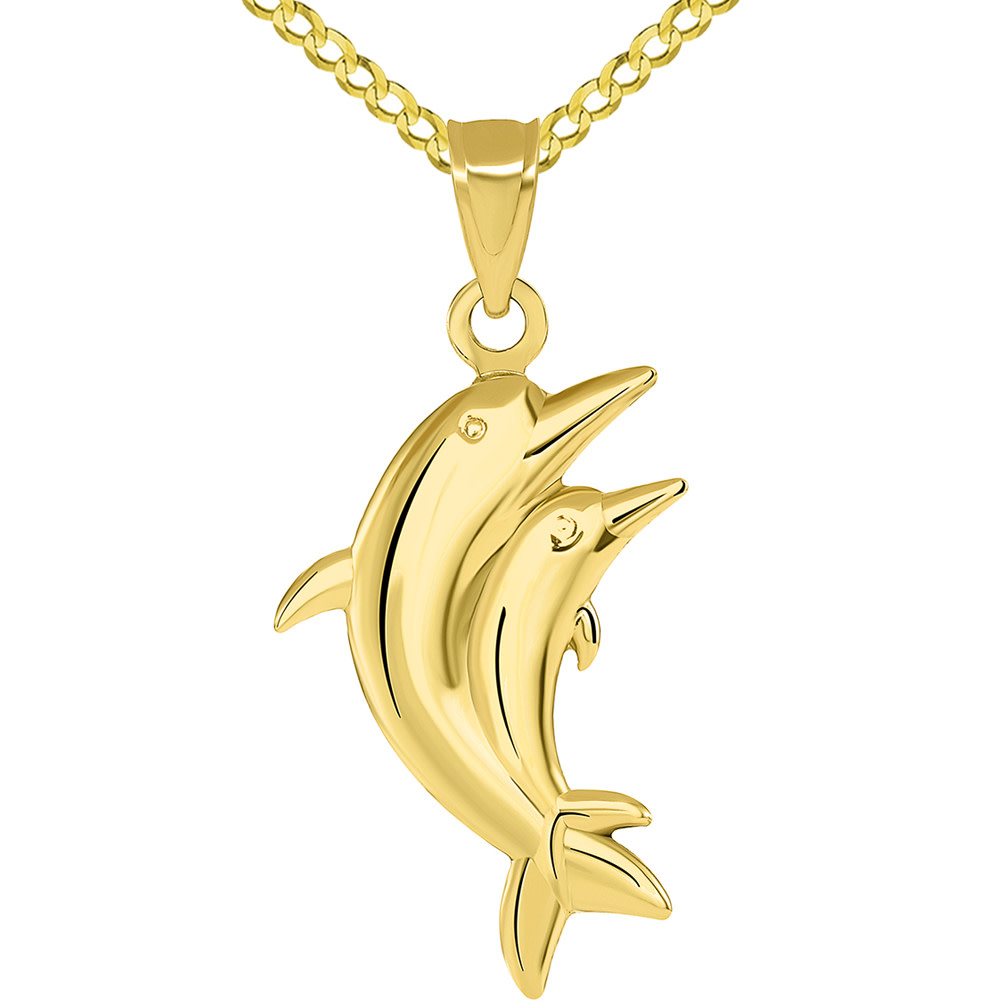 14k Yellow Gold 3D Two Dolphins Jumping Together Vertical Pendant with Cuban Necklace