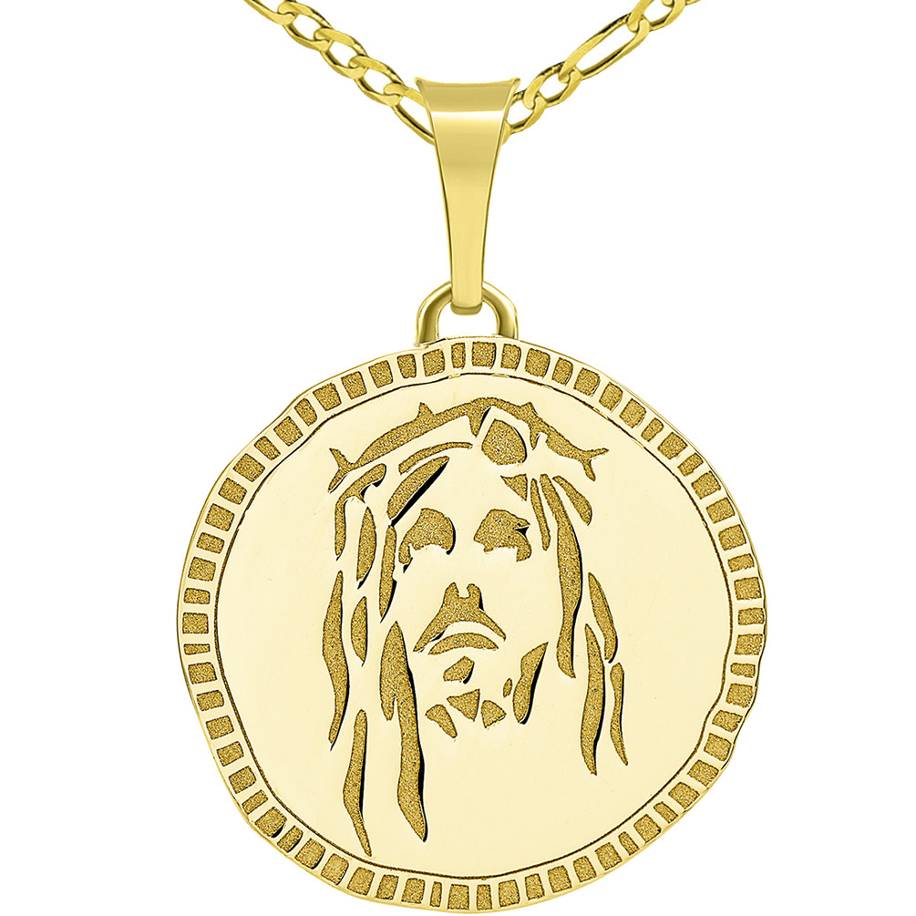 14k Yellow Gold Hand Engraved Face of Jesus Christ Medallion Pendant with Figaro Chain Necklace
