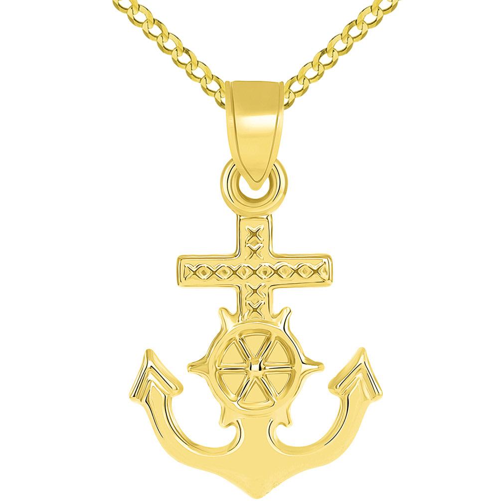 14k Yellow Gold Religious Nautical 3D Mariner's Cross Pendant Figaro Necklace