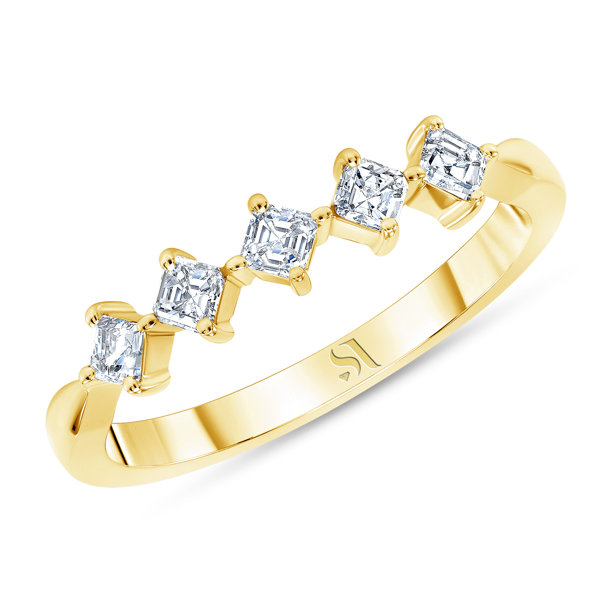 ASSCHER CUT DIAMOND RING - YELLOW GOLD