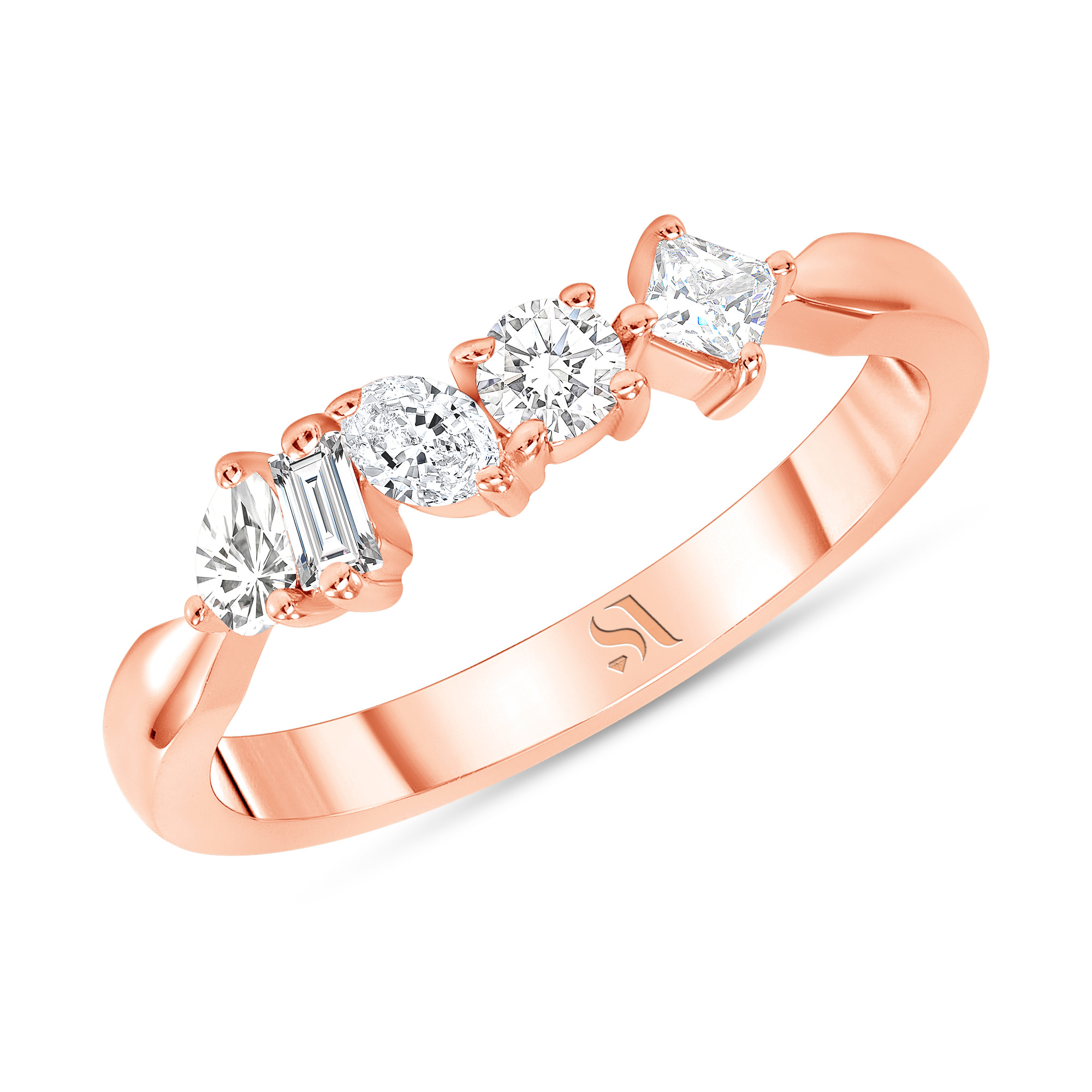 Fancy Shape Diamond Ring Rose Gold