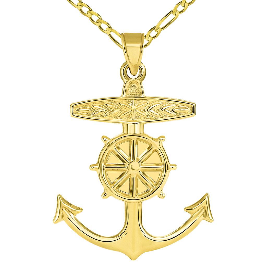 14k Yellow Gold 3D Ship Anchor and Wheel Nautical Pendant Figaro Necklace