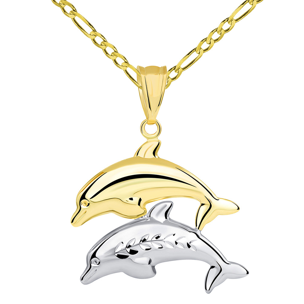 14k Yellow Gold and White Gold Two Tone 3D Dolphins Jumping Pendant Figaro Necklace