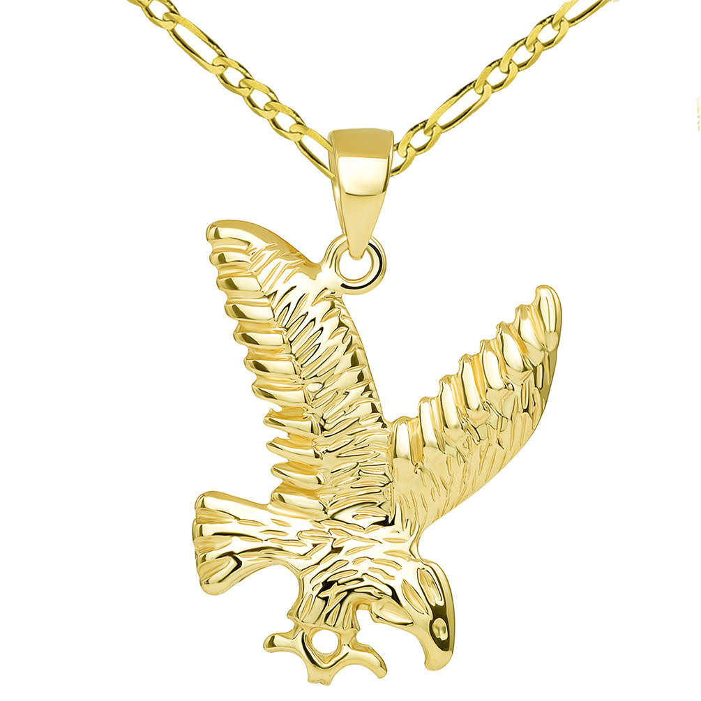 14k Solid Yellow Gold Soaring American Eagle Animal Pendant with Figaro Chain Necklace