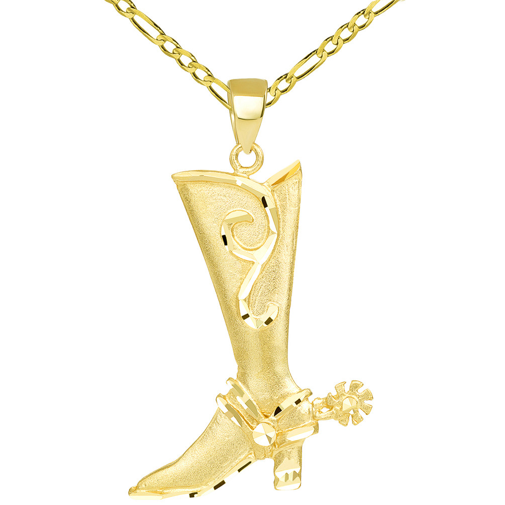 Textured 14k Yellow Gold Double Sided Cowboy Riding Boot with Spur Pendant Figaro Necklace