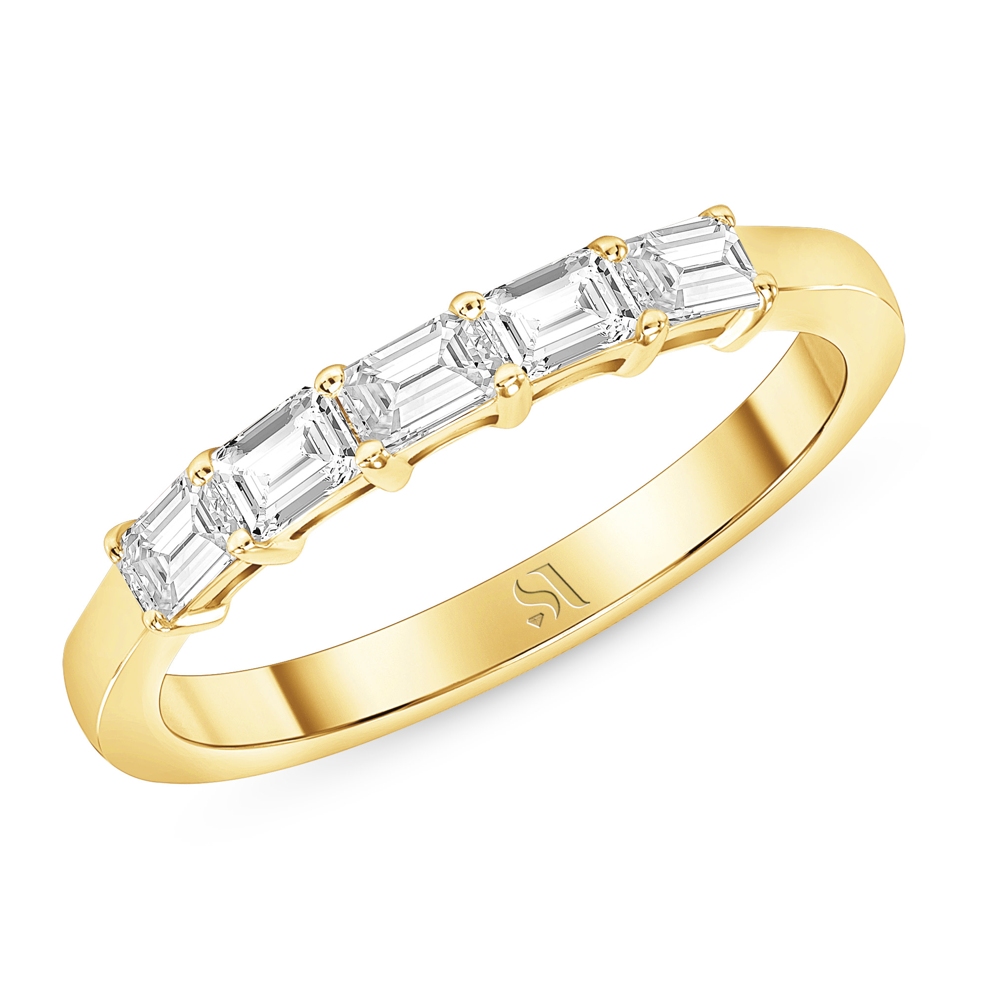 Dainty East West Emerald Diamond Ring - Gold