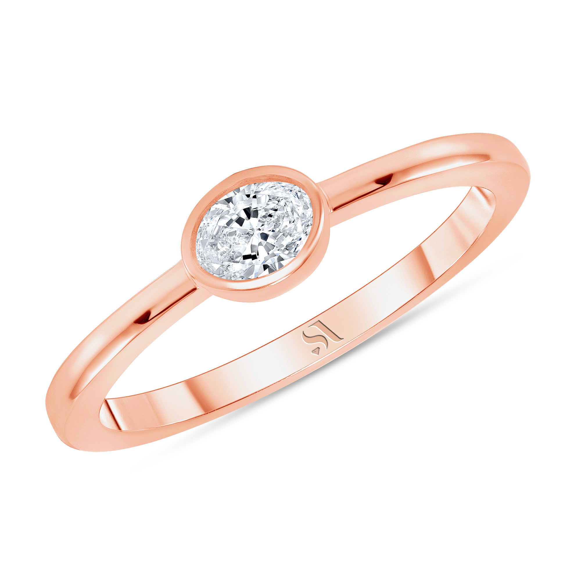 bezel set oval diamond ring rose gold