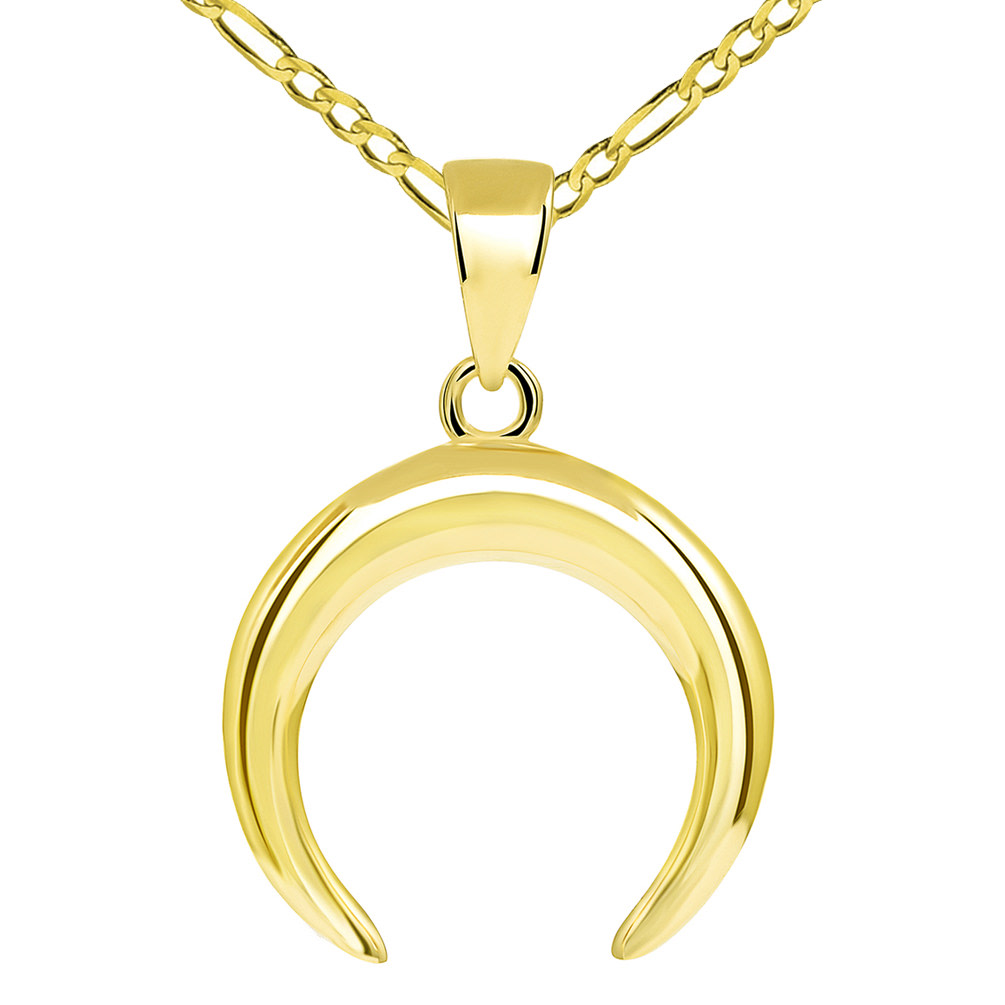 14k Yellow Gold Double Horn High Polished Crescent Moon Pendant with Figaro Chain Necklace