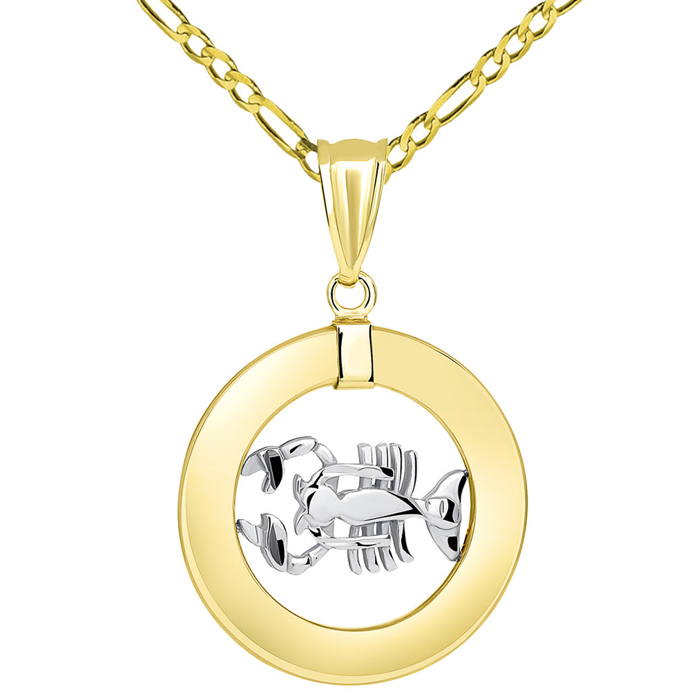 14k Two Tone Gold Open Circle Cancer Zodiac Sign Pendant Figaro Necklace