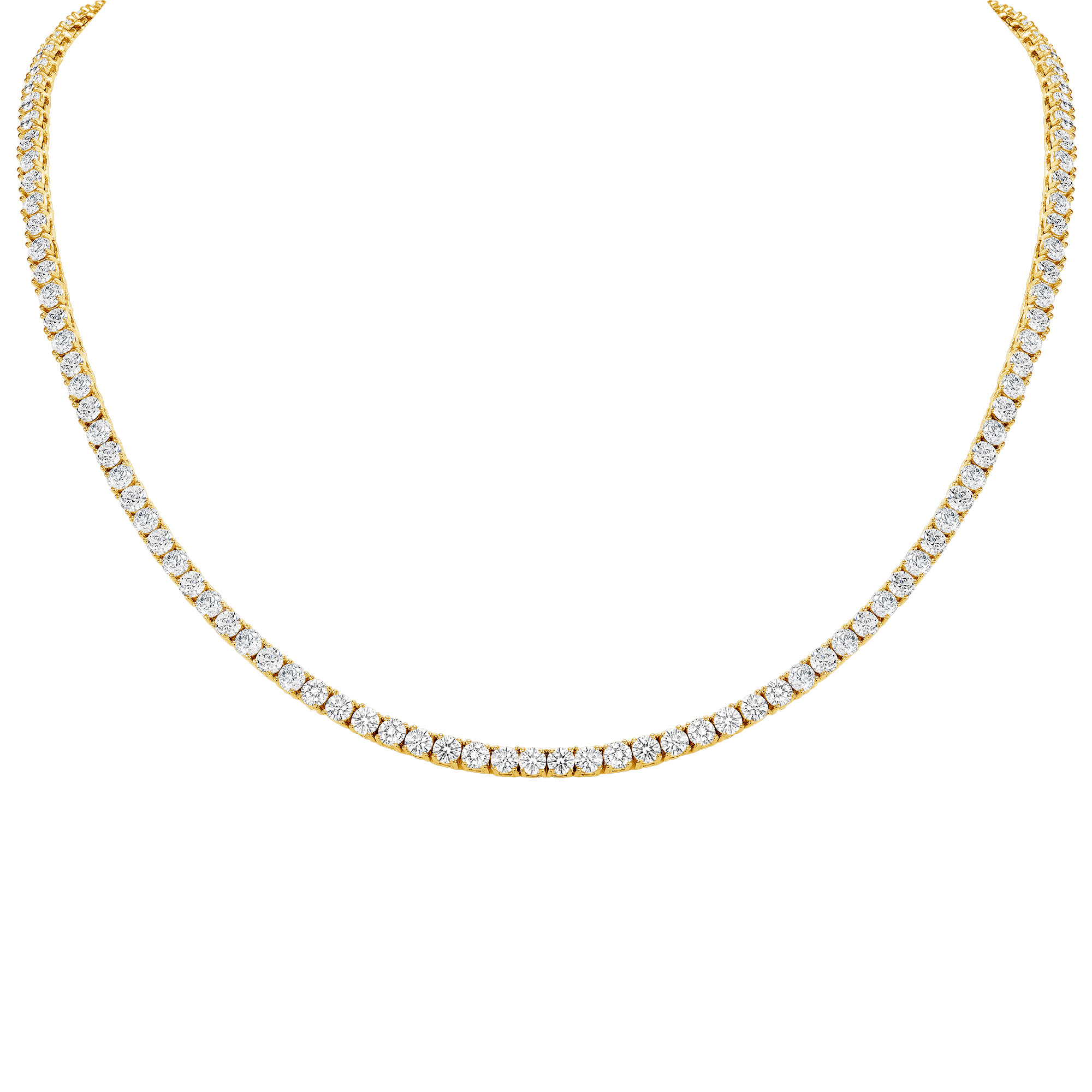 eternity necklace in yellow gold