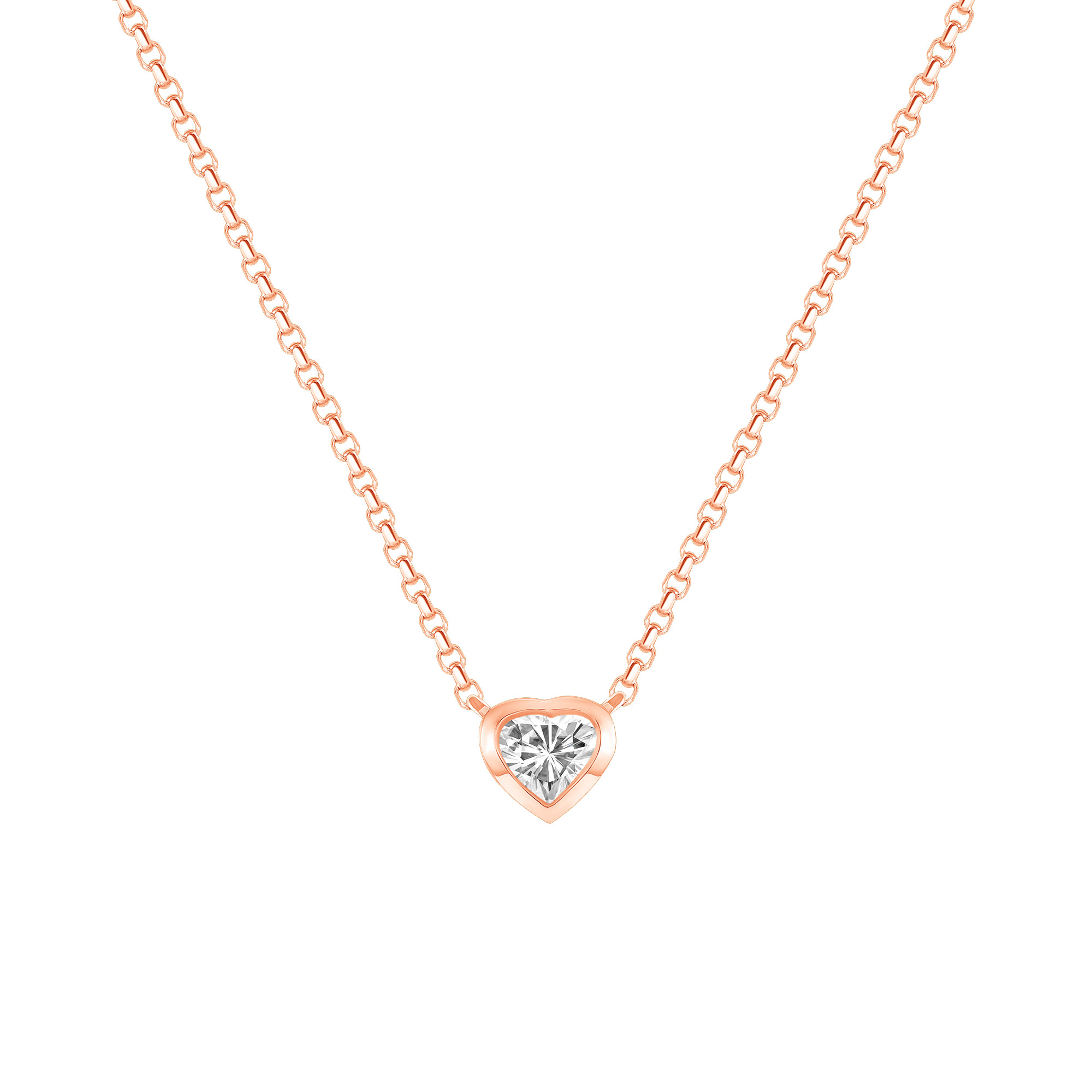 rose gold heart shaped diamond necklace