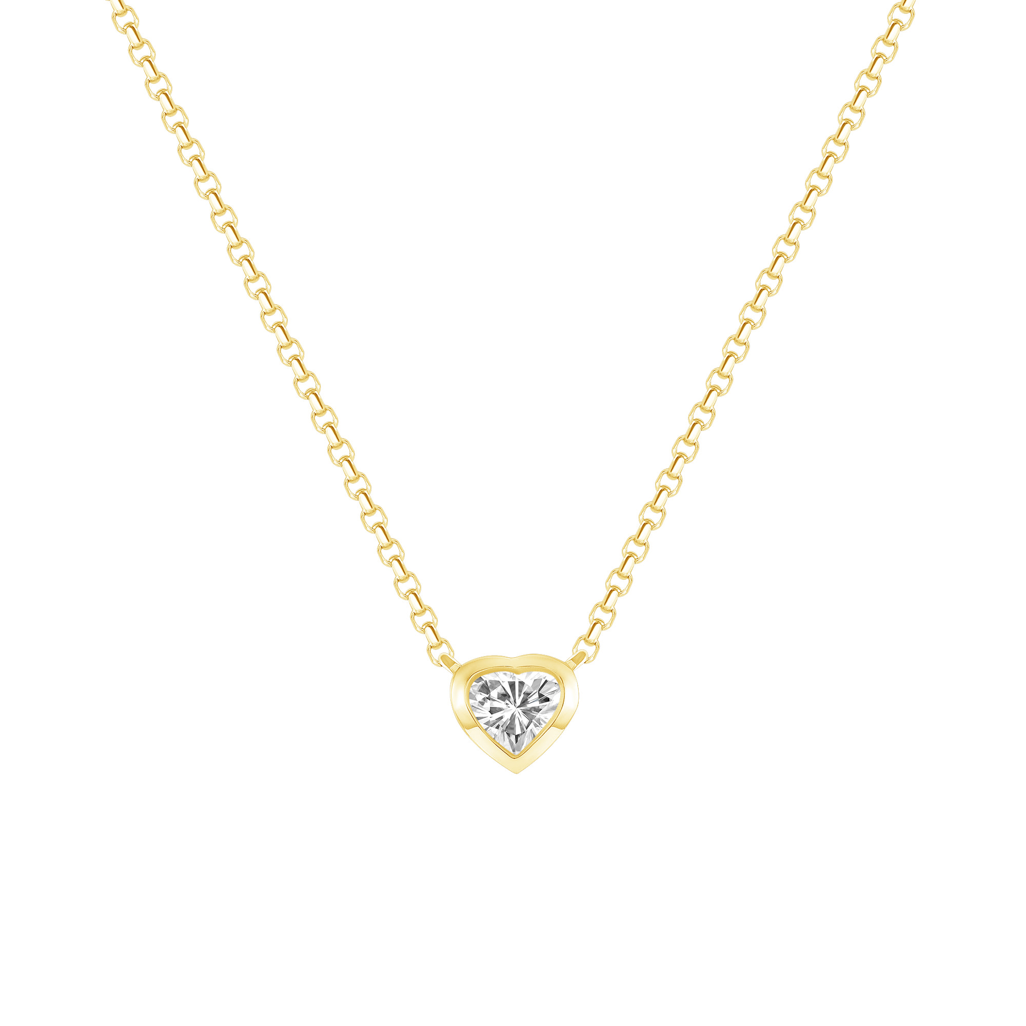 gold heart shaped diamond necklace