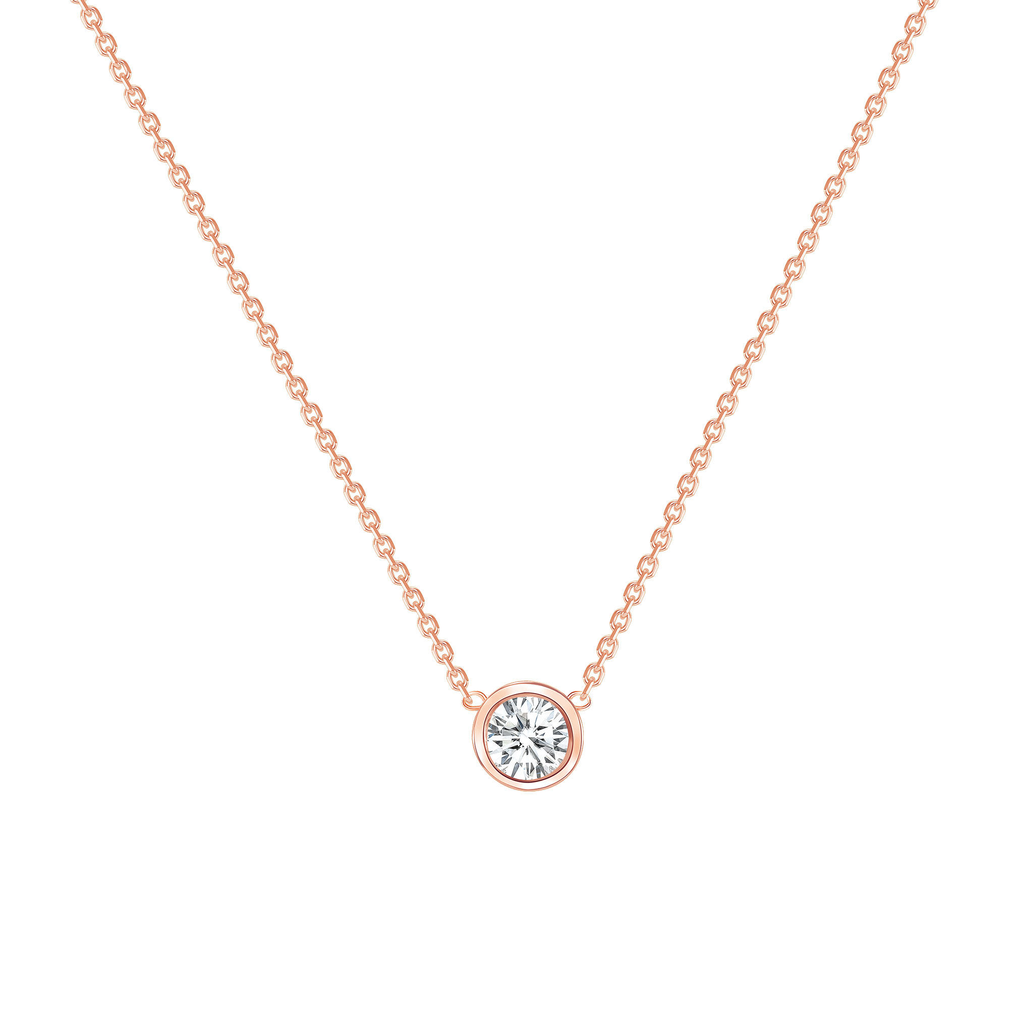 ROUND DIAMOND BEZEL SET NECKLACE - ROSE GOLD