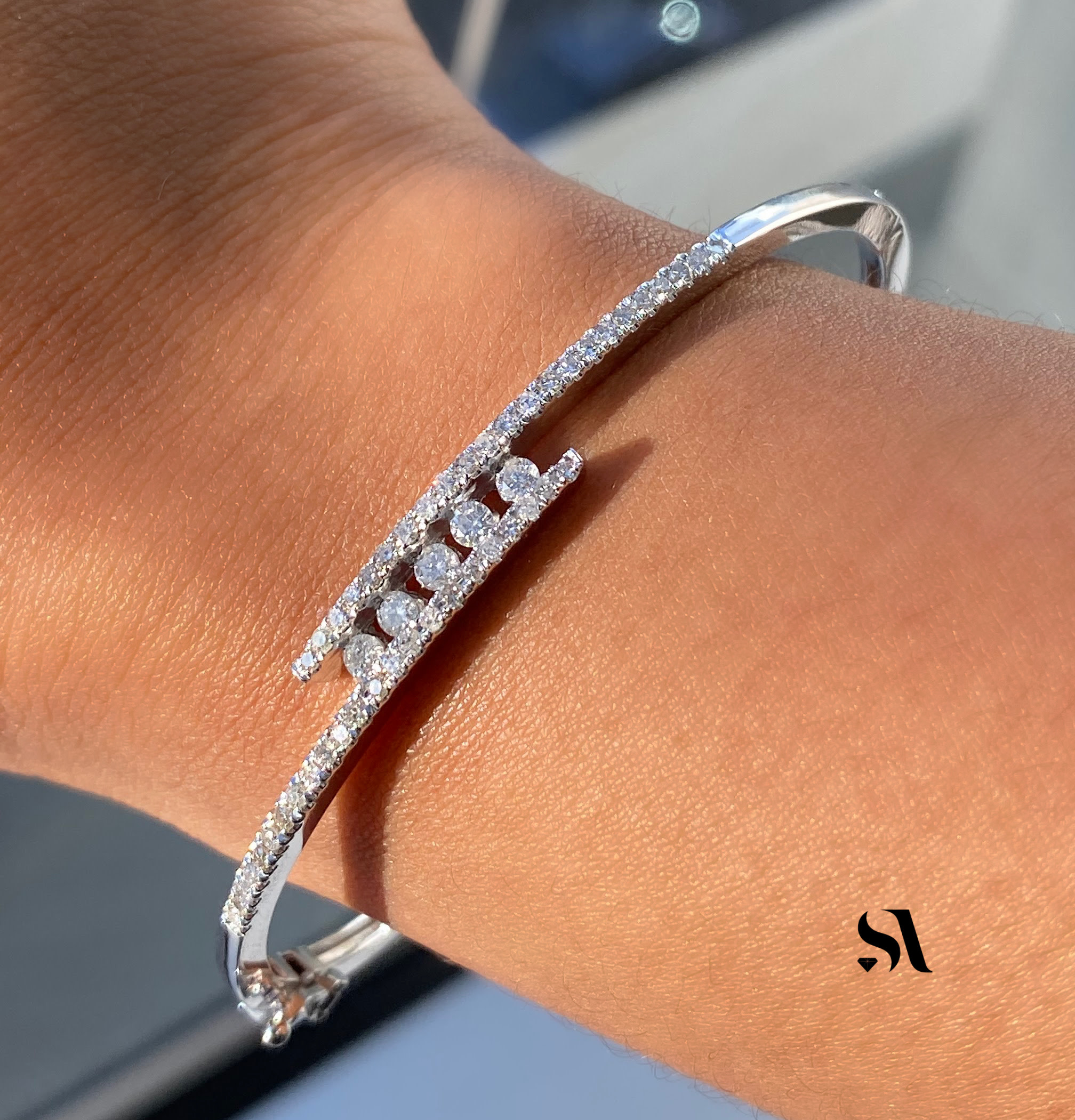Diamond Bangle with a Twist - Image