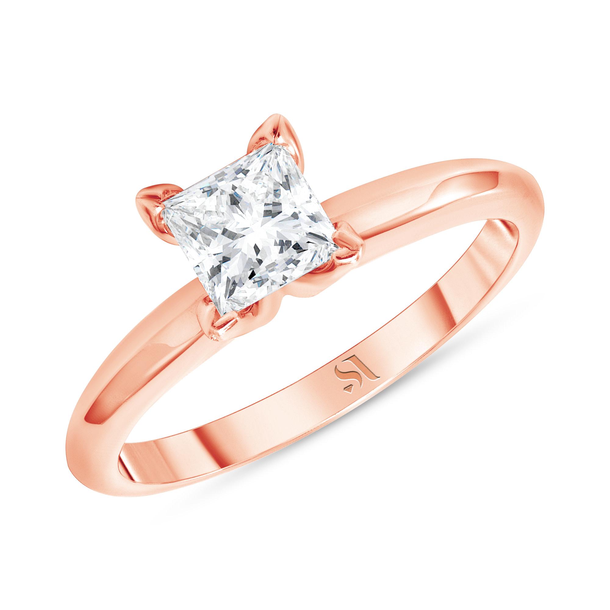 Princess Cut Diamond Engagement Ring - Rose Gold