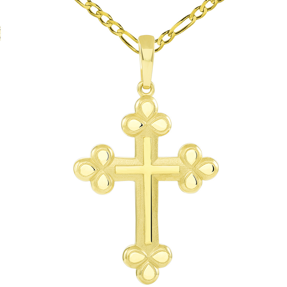 14k Yellow Gold Polished and Matte Finish Christian Eastern Orthodox Cross Pendant with Figaro Necklace