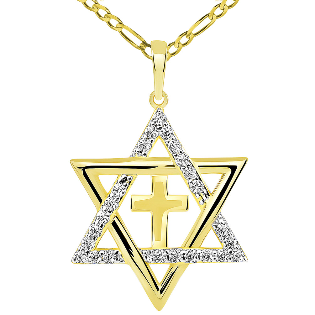 Yellow Gold CZ Star of David with Religious Cross Judeo Christian Pendant Necklace