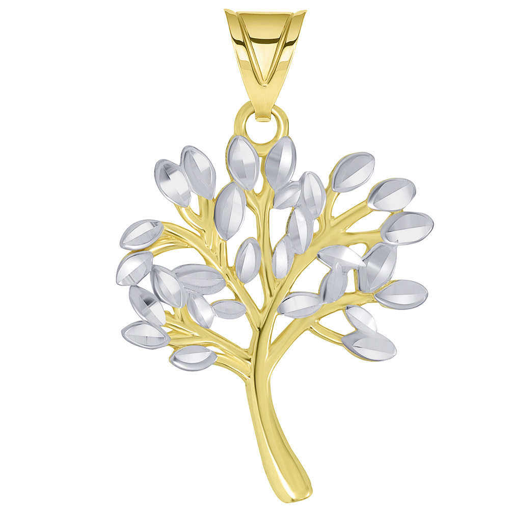 14k Solid Yellow Gold Textured Two Tone Tree of Life Pendant
