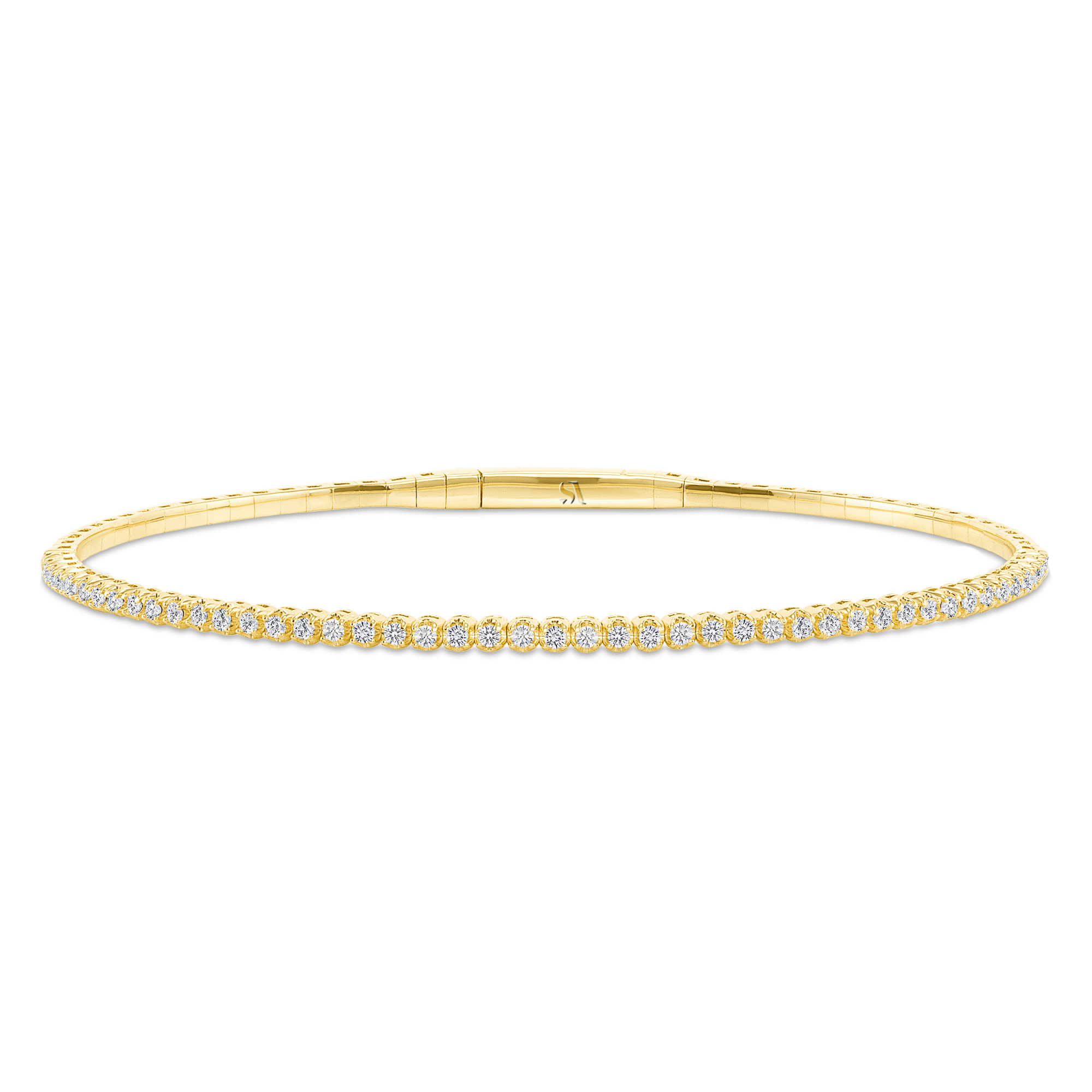 Halfway Diamond Flexible Bangle Bracelet yellow gold