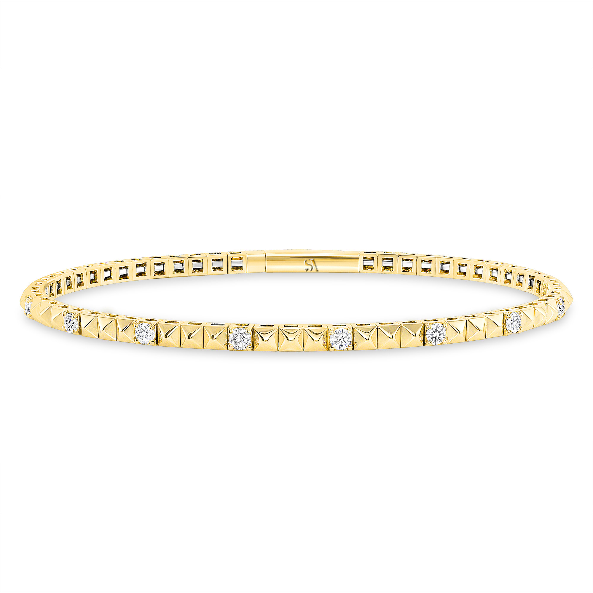 pyramid flexible bangle bracelet gold