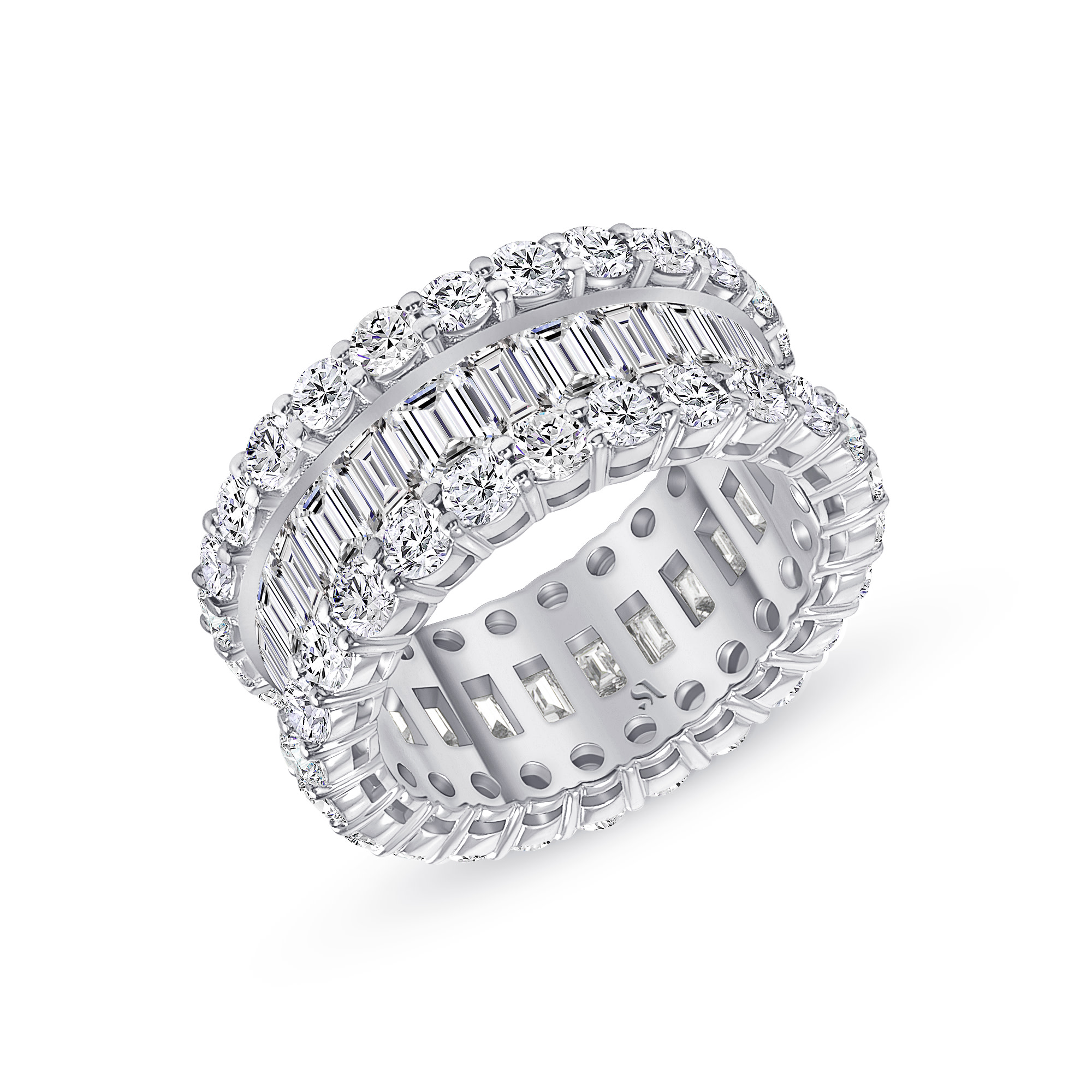 baguette and round diamond eternity band white gold