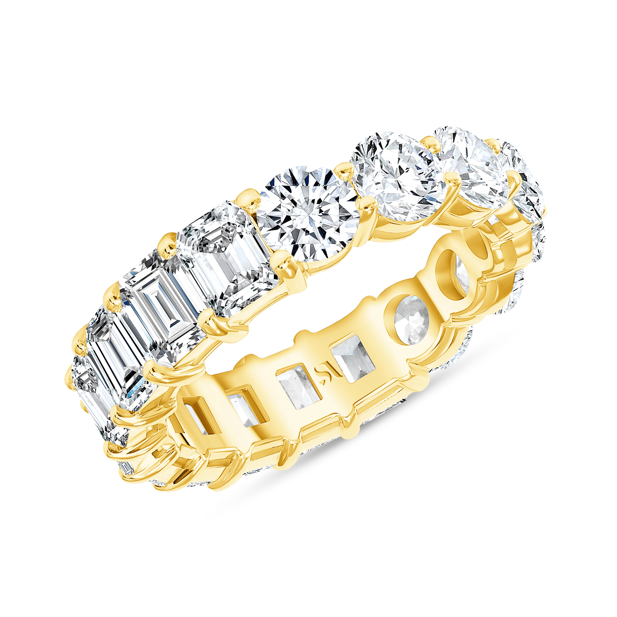 emerald and diamond eternity band yellow gold