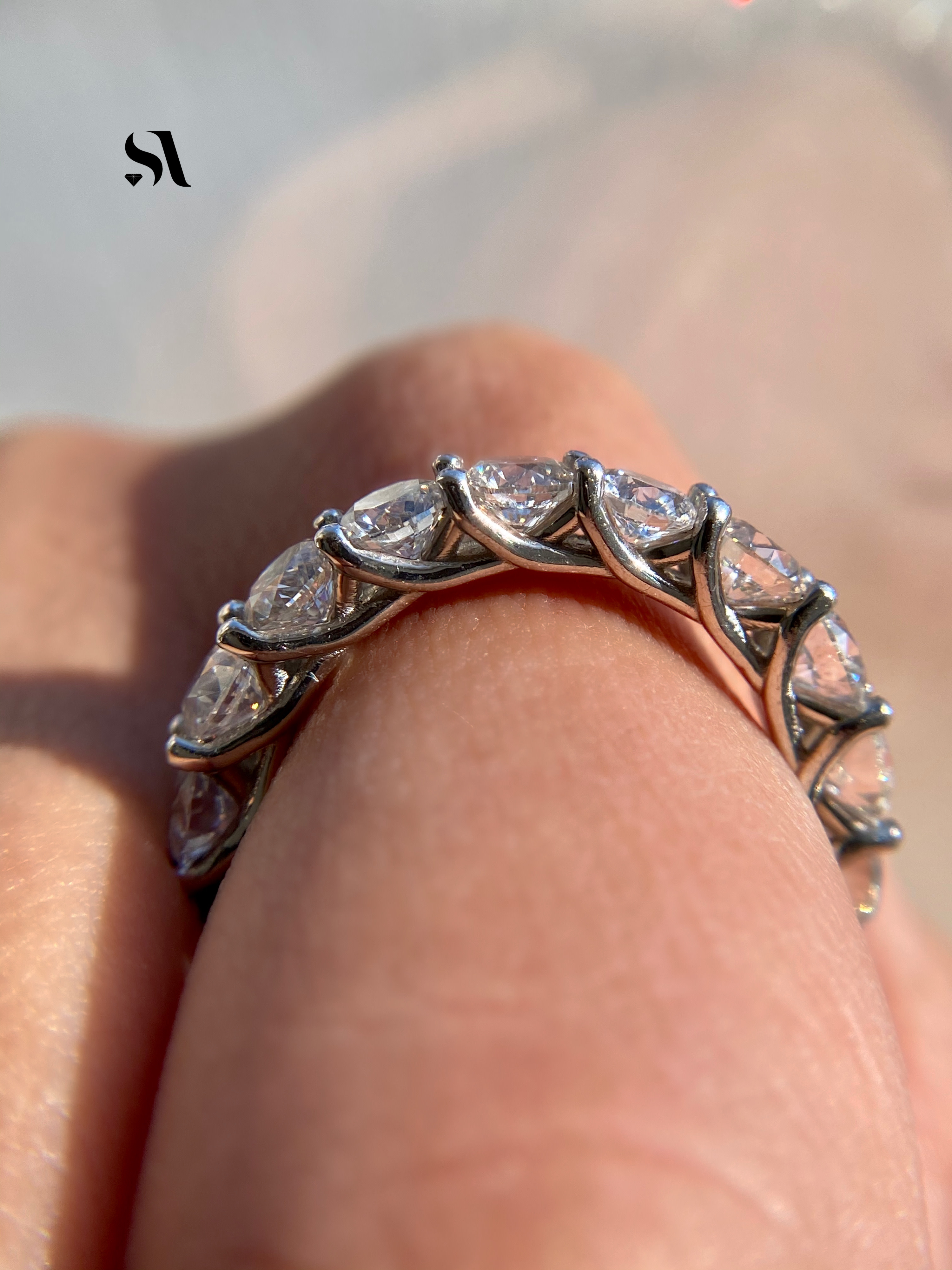 round eternity band in finger