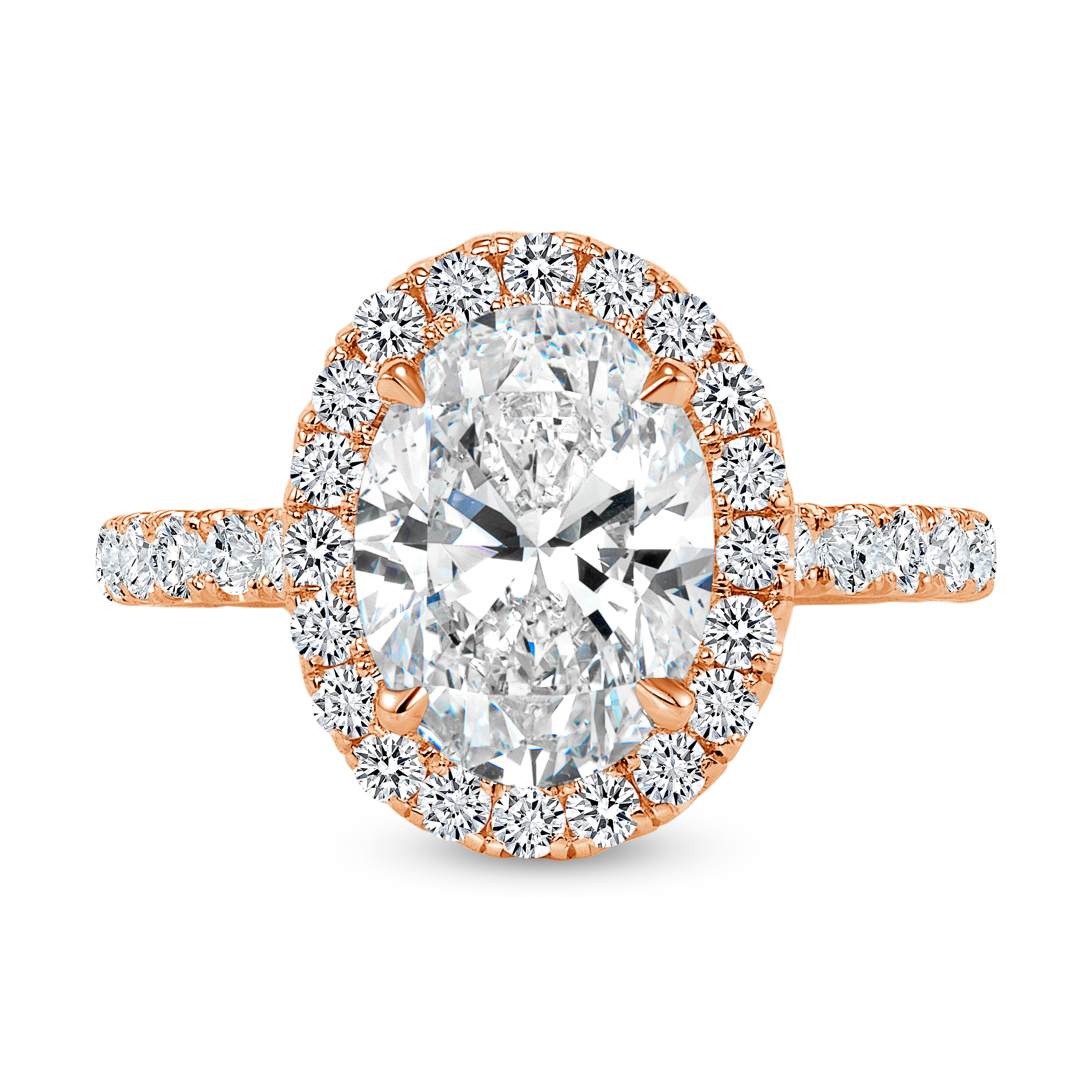 oval diamond halo engagement ring rose gold